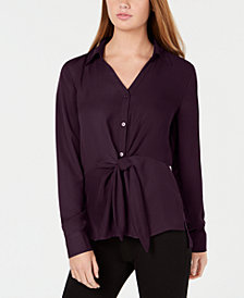 BCX Juniors' High-Low Tie-Front Shirt