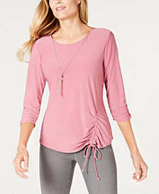 NY Collection Petite Ruched Tie-Hem Top