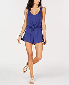Becca Knot-Front Romper Cover-Up