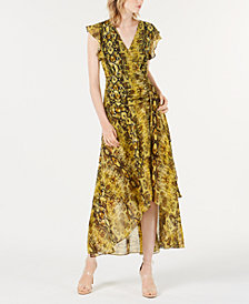 Bar III Ruched Python Printed Maxi Dress, Created for Macy's