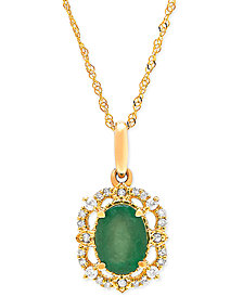 "Emerald (3/4 ct. t.w.) & Diamond (1/10 ct. t.w.) 18"" Pendant Necklace in 14k Gold"