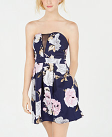 Speechless Juniors' Floral Strapless Fit & Flare Dress