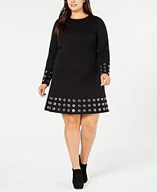 MICHAEL Michael Kors Plus Size Ponté-Knit Embellished Fit & Flare Dress