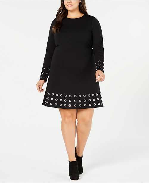 1829612ea33 ... Michael Kors Plus Size Pont eacute -Knit Embellished Fit   Flare Dress  ...