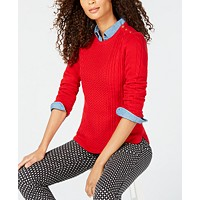 Deals on Charter Club Womens Petite Cable-Knit Sweater