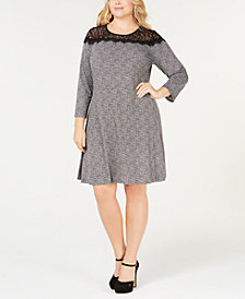 MICHAEL Michael Kors Plus Size Tweed & Lace Dress