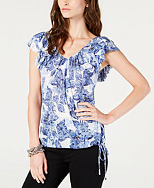 I.N.C. Printed Ruffled-Sleeve Top, Created for Macy's