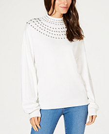 I.N.C. Studded Mock-Neck Sweater, Created for Macy's