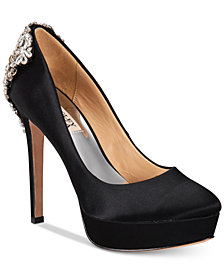 Badgley Mischka Viola Embellished Platform Evening Pumps