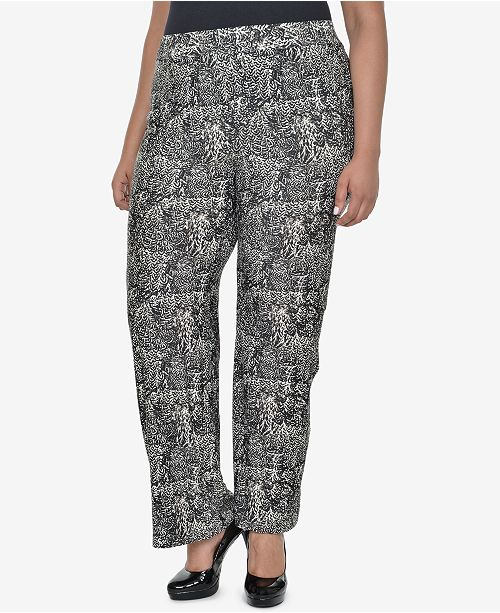 NY Collection Plus Size Printed Pull-On Pants