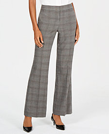 Nine West Plaid Wide-Leg Trousers
