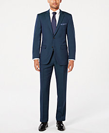 Perry Ellis Men's Slim-Fit Comfort Stretch Turquoise Solid Suit