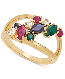 Multi-Gemstone Cluster Ring (1-1/2 ct. t.w.) in 14k Gold