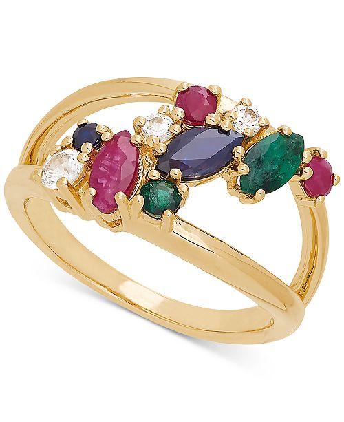 Macy's Multi-Gemstone Cluster Ring (1-1/2 ct. t.w.) in 14k Gold