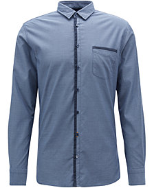 BOSS Men's Slim-Fit Patterned Cotton Shirt