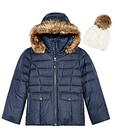 The North Face Little & Big Girls Cable-Knit Hat & Hooded Jacket