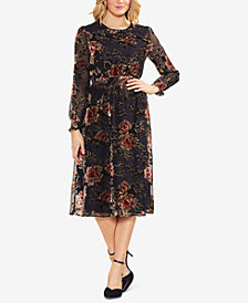 Vince Camuto Velvet Floral-Burnout Dress