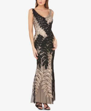 JS COLLECTIONS Leaf Soutache Trumpet Gown in Black/Gold