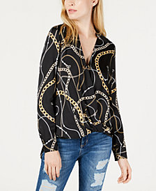 GUESS Chain-Print High-Low Surplice Top