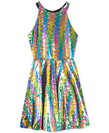 Rare Editions Big Girls Plus Reversible Sequin Fit & Flare Party Dress