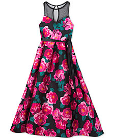 Rare Editions Big Girls Illusion-Neck Floral-Print Maxi Dress