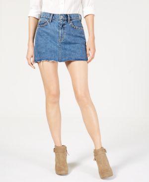 Viper Studded Raw-Edge Denim Mini Skirt in Vibrant Light