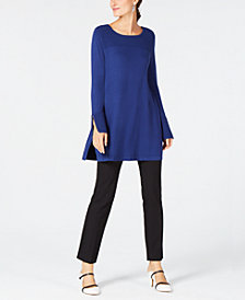 Alfani Ribbed Tunic Sweater & Faux-Leather-Trim Slim Pants, Created for Macy's