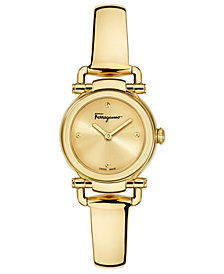 Ferragamo Women's Swiss Gancino Casual Gold-Tone Stainless Steel Bangle Bracelet Watch 26mm