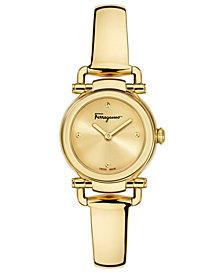 Ferragamo Women's Swiss Gancino Casual Gold-Tone Stainless Steel Bangle Bracelet Watch 26mm