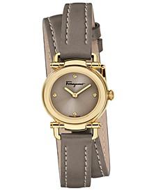 Women's Swiss Gancino Casual Light Brown Leather Wrap Strap Watch 26mm