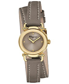 Ferragamo Women's Swiss Gancino Casual Light Brown Leather Wrap Strap Watch 26mm