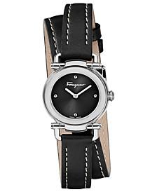 Women's Swiss Gancino Casual Black Leather Wrap Strap Watch 26mm