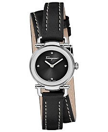 Ferragamo Women's Swiss Gancino Casual Black Leather Wrap Strap Watch 26mm