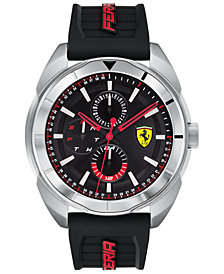 Ferrari Men's Forza Black Silicone Strap Watch 45mm