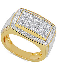 Diamond Two-Tone Men's Cluster Ring (2 ct. t.w.) in 10k Gold & White Gold