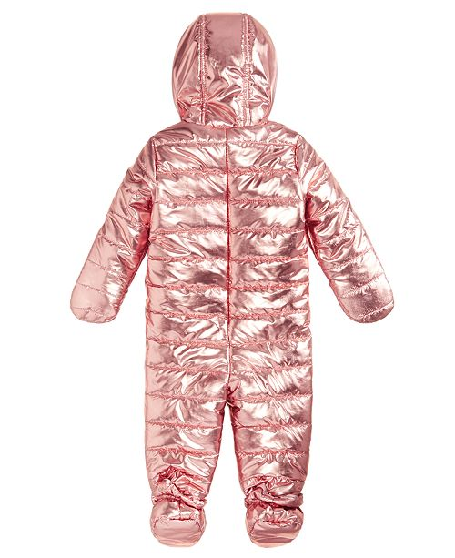 2fb8cdb91 First Impressions Baby Girls Metallic Puffer Snowsuit, Created for Macy's  ...