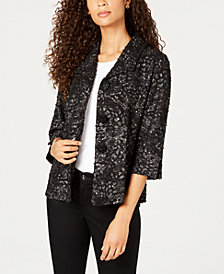 JM Collection Textured Embellished-Button Jacket, Created for Macy's