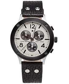 Lucky Brand Men's Chronograph Rockpoint Black Leather Strap Watch 42mm