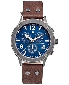 Men's Rockpoint Brown Leather Strap Watch 42mm