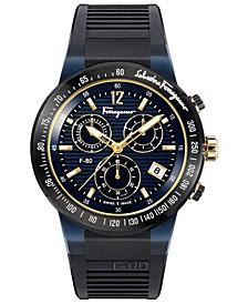 Men's Swiss Chronograph F-80 Black Caoutchouc Strap Watch 44mm