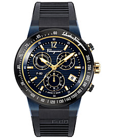 Ferragamo Men's Swiss Chronograph F-80 Black Caoutchouc Strap Watch 44mm
