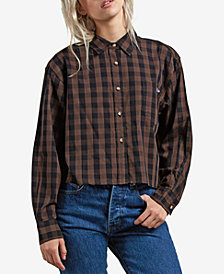 Volcom Juniors' Dare To Bloom Plaid Cropped Button-Front Shirt