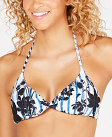 Lucky Brand On The Grid Printed Reversible Bralette Bikini Top