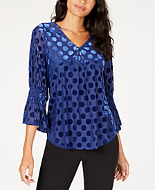 Alfani Velvet Polka-Dot Top, Created for Macy's