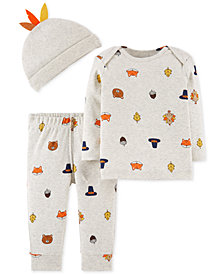 Carter's Baby Boys 3-Pc. Cotton Hat, Top & Pants Set