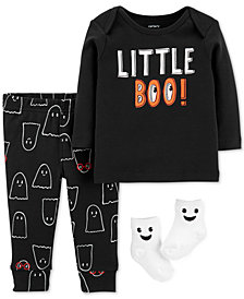 Carter's Baby Boys 3-Pc. Little Boo Cotton Top, Pants & Socks Set