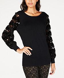 Alfani Embellished Mesh-Sleeve Sweater, Created for Macy's