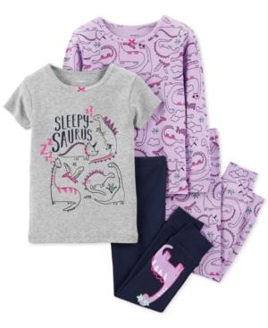 Carters Baby Girls 4Pc SnugFit Cotton Dinosaur Pajamas Set