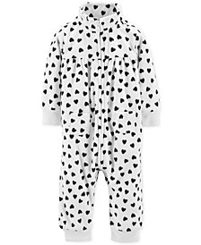 Carter's Baby Girls Heart-Print Fleece Coverall