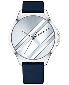 Tommy Hilfiger Women's Navy Leather Strap Watch 38mm Created for Macy's